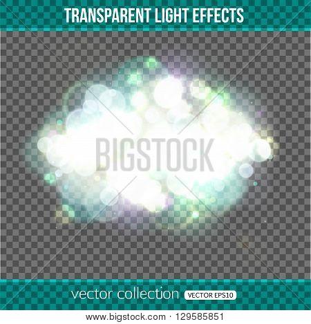 Bokeh lights over transparent background. Bokeh lights effect. Vector illustration.