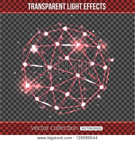 Abstract sphere with lights effect over transparent background. Transparent sphere. Vector illustration with glowing sphere.