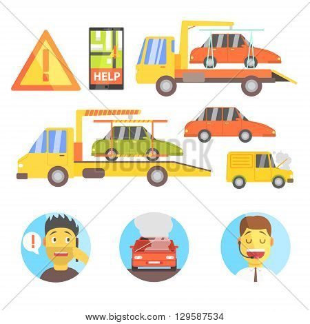 Callin For Help Evacuating The Car Infographic Flat Simplified Multicolor Vector Illustration On White Background