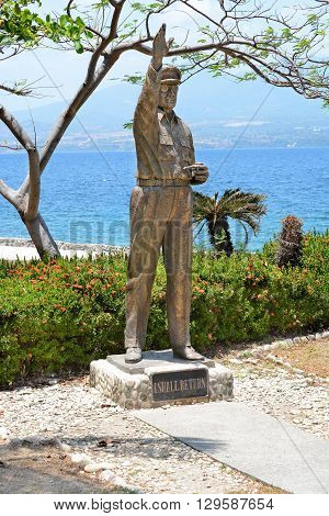 CORREGIDOR PHILIPPINES - APRIL 3 2016: Gen Douglas MacArthur statue. Near the ruins of Lorca Dock where the General is said to have departed Corregidor.