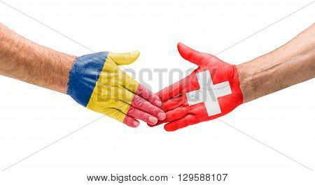 Football Teams - Handshake Between Romania And Switzerland