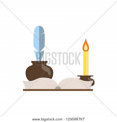 Quill, Journal And Candle Flat Isolated Childish Style Simple Vector Drawing In Bright Colors On White Background