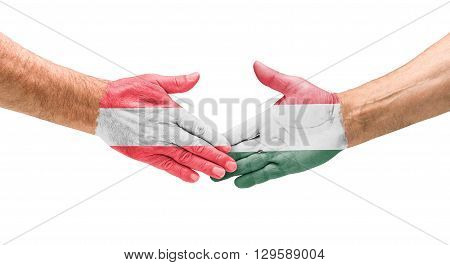 Football Teams - Handshake Between Austria And Hungary