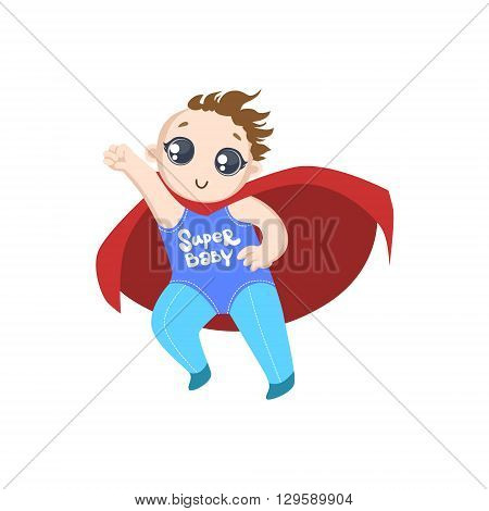 Toddler Dressed As Superhero With Red Cape Funny And Adorable Flat Isolated Vector Design Illustration On White Background