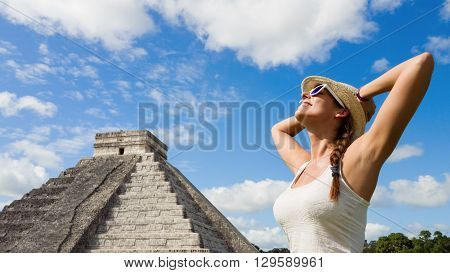 Happy Woman Enjoying Chichen Itza Mayan Ruins Tourism