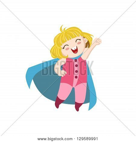 Girl Dressed As Superhero With Blue Cape Funny And Adorable Flat Isolated Vector Design Illustration On White Background