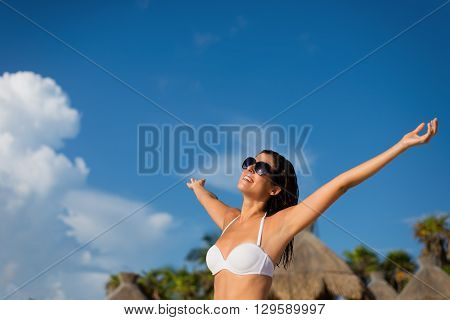 Woman Enjoying Tropical Resort Caribbean Vacation