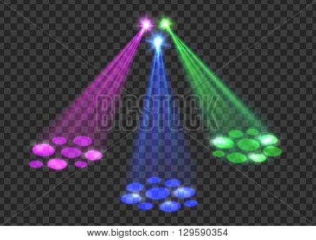 Concert light over transparent background. Abstract scene with red, green, blue lights for disco, party, club, concert. Vector concert spotlights.