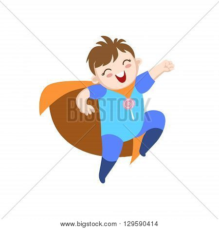Baby Dressed As Superhero With Orange Cape Funny And Adorable Flat Isolated Vector Design Illustration On White Background