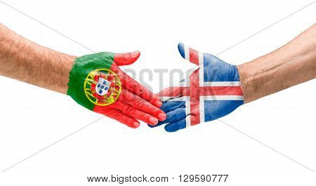 Football Teams - Handshake Between Portugal And Iceland