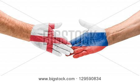 Football Teams - Handshake Between England And Russia