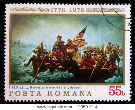 ZAGREB, CROATIA - JULY 19: a stamp printed in the Romania shows Washington Crossing the Delaware, Painting by Emanuel Leutze, American Bicentennial, circa 1976, on July 19, 2012, Zagreb, Croatia