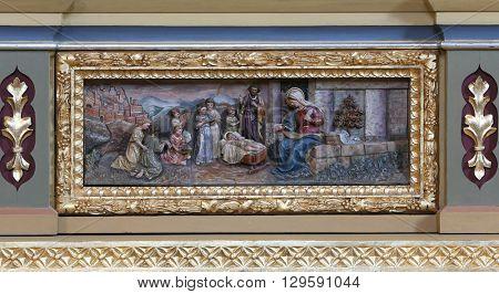 STITAR, CROATIA - AUGUST 27: Nativity Scene, altarpiece on the altar of Our Lady in the church of Saint Matthew in Stitar, Croatia on August 27, 2015