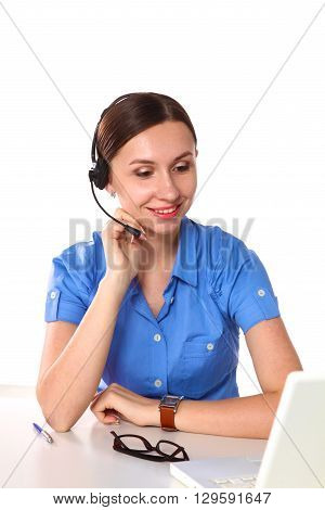 bright picture of friendly female helpline operator.