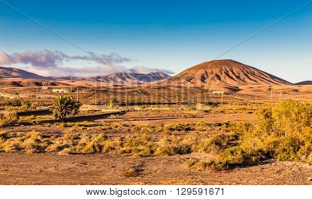 Typical Landscape In Fuerteventura Inland During Sunset Canary Islands Spain
