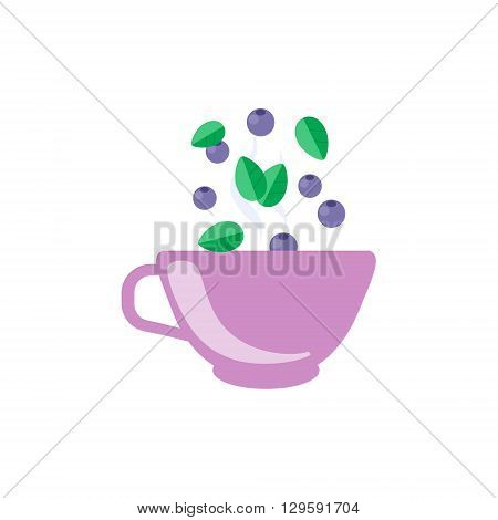 Blueberry Tea In Violet Cup Flat Bright Color Simplified Vector Drawing On White Background