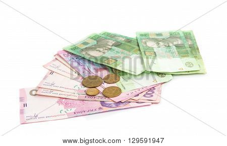 bank Ukrainian money on a white background