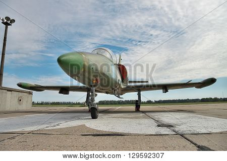 Vasilkov Ukraine - June 19 2010: Aero L-39 Albatros military training plane preparing for a flight on the airfield