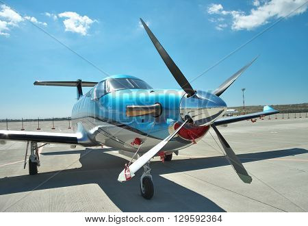 Gelendzhik Russia - September 10 2010: Pilatus PC-12 light turboprop passenger plane on the apron on a sunny day