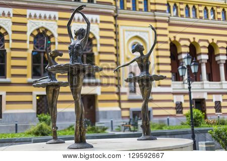 TBILISI GEORGIA - MAY 07: The exterior of renovated Tbilisi State Opera House on Rustaveli avenue in the center of Tbilisi city the capital of Georgia on May 07 2016