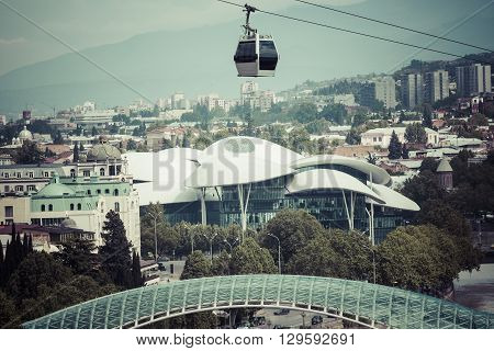 Tbilisi, Georgia - May 07, 2016: Funicular Over The Tbilisi City At Sunset. Georgia