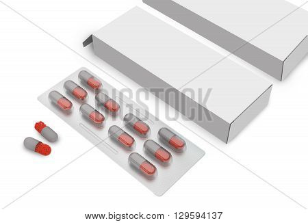 Pill Tablet With Packaging Box Isolated on White Background. 3D illustration