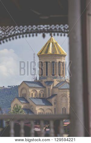 Tbilisi, Georgia - May 07, 2016: View Of The Holy Trinity Cathedral Tsminda Sameba In Tbilisi, Georg