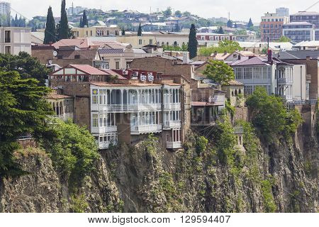 TBILISI GEORGIA - MAY 07 2016: Tbilisi city center aerial view from Narikala Fortress Georgia