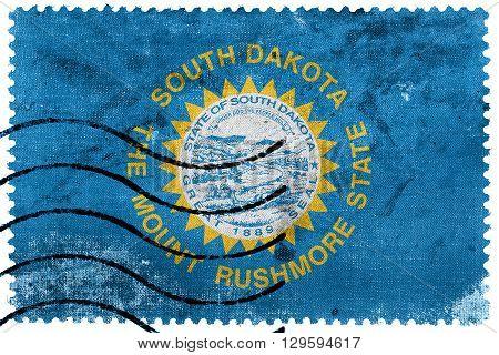 Flag Of South Dakota State, Old Postage Stamp