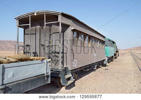 AMMAN JORDAN - JULY 23 2015: Original Steam Train of Lawrence of Arabia. The train departs from the Jiza station.