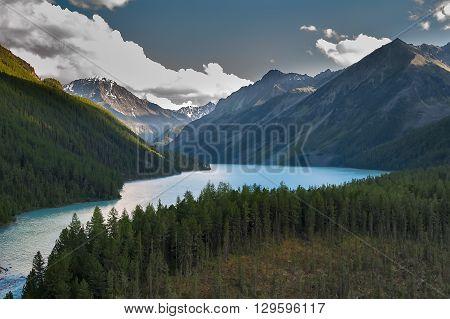 Kucherla lake beginning from Kucherla glacier near Beluha peak, Altai, Russia