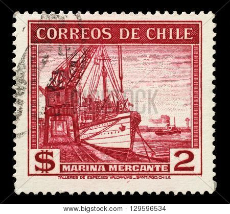 ZAGREB, CROATIA - JUNE 24: A stamp printed in Chile shows sailing ship merchant fleet, circa 1936, on June 24, 2014, Zagreb, Croatia