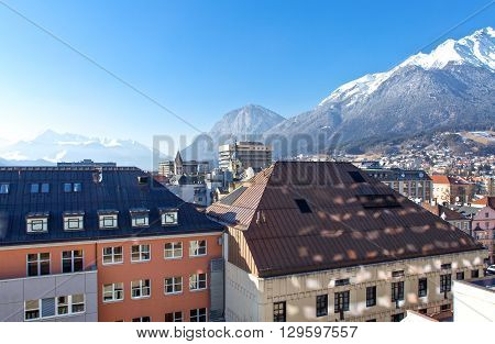 Austria Tyrol panoramic wiew over the Innsbruck town