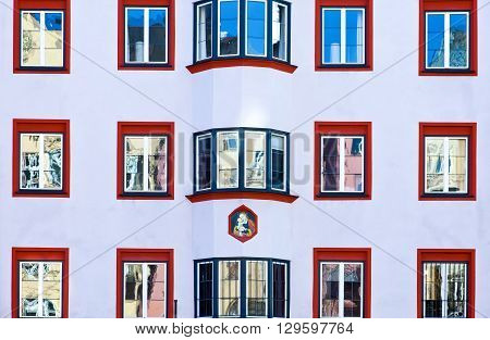 Innsbruck Austria - February 8 2010: Detail of the traditional architecture of Maria Theresien strasse