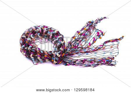 Close up of beautiful multicolor fabric scarf on white background isolated