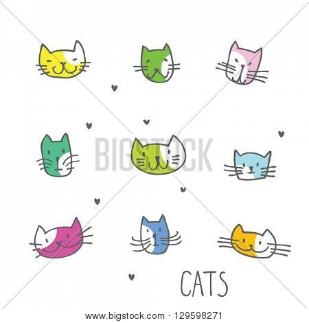 Set of cat illustrations Freehand drawing