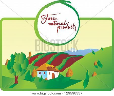 Farm natural products hand drawn - vector Illustration
