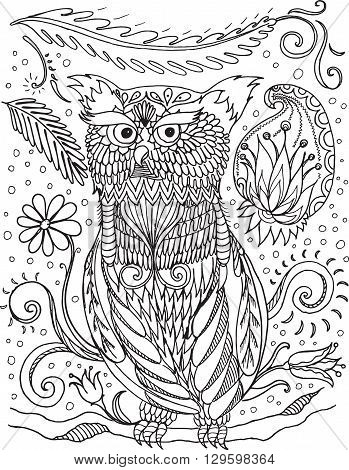 Coloring book for adult and older children. Coloring page with decorative vintage flowers and owl. Outline hand drawn - vector Illustration