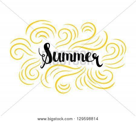 Vector summer background. Summer fun. Hello Summer vector illustration. Say Hello to summer.