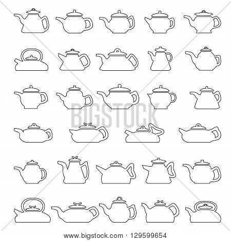 Pot and kettle collection. Vector set of line icons kettle of different shapes and sizes.