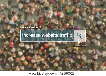 Increase website traffic web search bar glossary term on internet