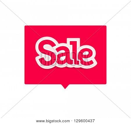 Sale Red vector lettering design banner for web, flyer, brochure, poster. modern Red and white simple letters sale. EPS 10