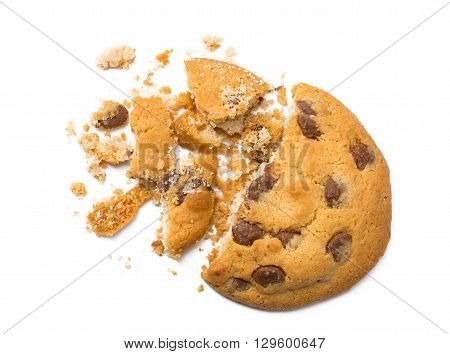 Chocolate Chip Cookie with crumbs isolated on white background closeup.