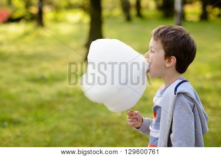 7 Years Boy Eating Candy Floss In The Park