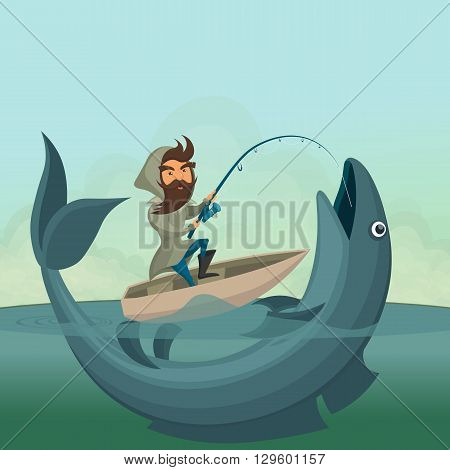 Fisherman on boat catch giant fish. Vector illustration.