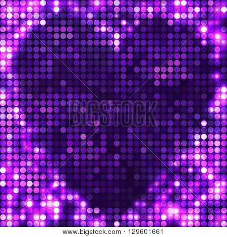 Violet vector mosaic. Abstract bright heart shape with circles and light spots. Sparkling base for your design. Glitter background for decoration party, disco flyers, posters, banners, advertisement