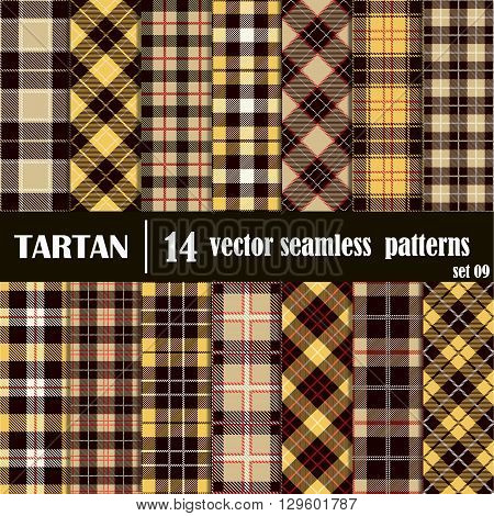 Set tartan seamless pattern in golden and yellow colors. Lumberjack flannel shirt inspired. Seamless tiles. Trendy hipster style backgrounds. Vector file's pattern swatches