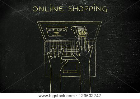 Laptop User Inserting Credit Card Into Virtual Pos, Online Shopping