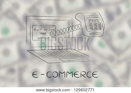 Laptop With Funny Pos Terminal Out Of Screen, E-commerce