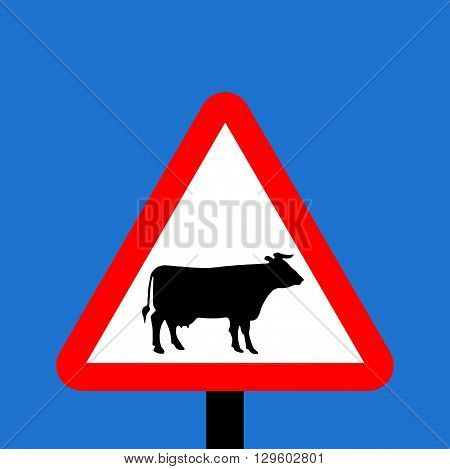 An illustration of a Warning triangle Cattle sign